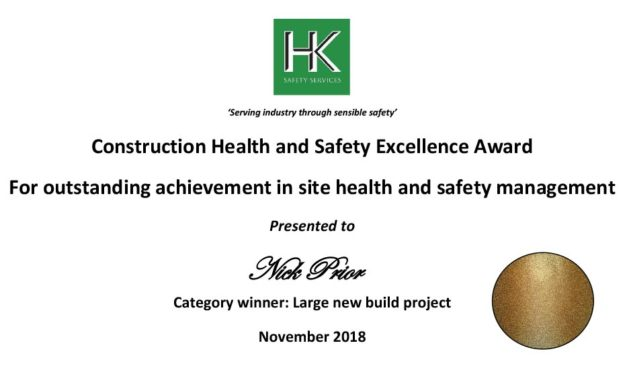 Health & Safety Gold award in the large project new build category